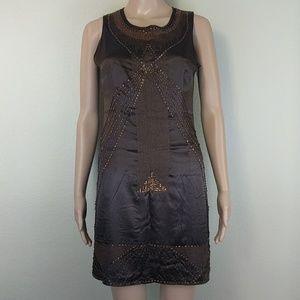 [Vertigo Paris] Brown Beaded Embellished Dress XS